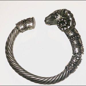 925 Sterling Silver Ram's Head Bracelet!